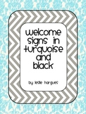 Welcome banner turquoise and black
