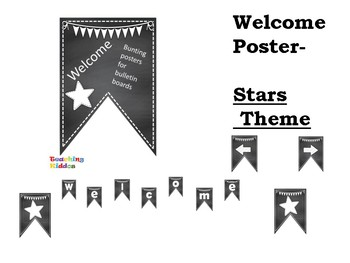Welcome bulletin board chalkboard stripes and stars pennant class decor
