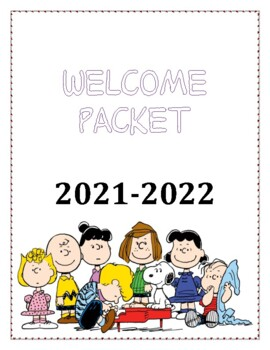 Welcome packet with Peanuts theme