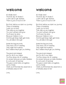 welcome poem by littles learning teachers pay teachers