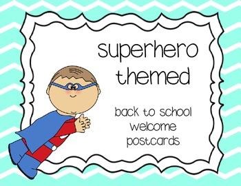 Welcome postcards - superhero themed