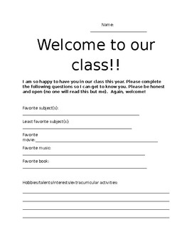 Welcome sheet (questionnaire)