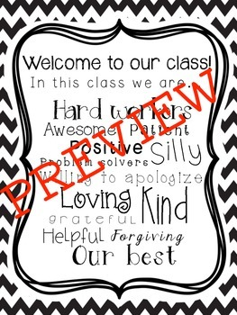 Back to School Welcome sign: In this class we...