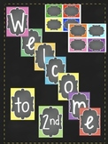 Welcome sign and Name cards for class door - Stripes