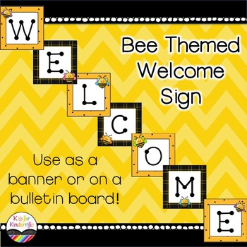 Welcome Sign Banner Bee Themed