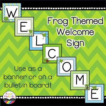 Welcome sign / banner : Frog Themed