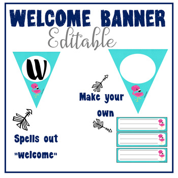 Flamingo and Burlap EDITABLE Welcome Banner and Name Plates - Back to School