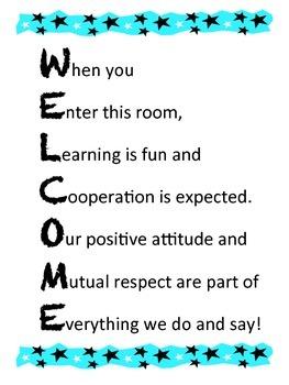 Welcome sign for classroom door