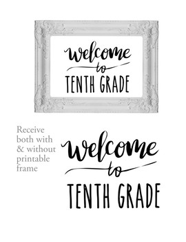 Welcome to 10th Tenth Grade Sign or Poster w Frame Farmhouse & Rae Dunn Style