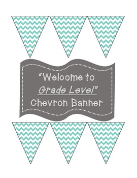 """Welcome to """"1st-6th"""" Grade Banner in Teal Chevron"""
