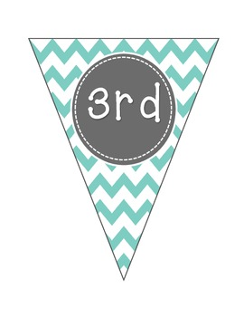 "Welcome to ""1st-6th"" Grade Banner in Teal Chevron"