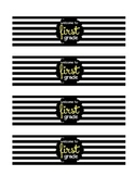 """Welcome to 1st Grade"" (Black Stripe) Water Bottle Labels"