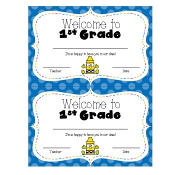 Welcome to 1st Grade Certificate