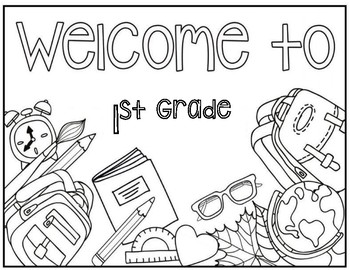 welcome to 1st grade coloring page by christa leigh designs tpt. Black Bedroom Furniture Sets. Home Design Ideas