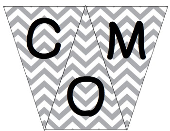 Welcome to 1st Grade Pennant- Gray Chevron