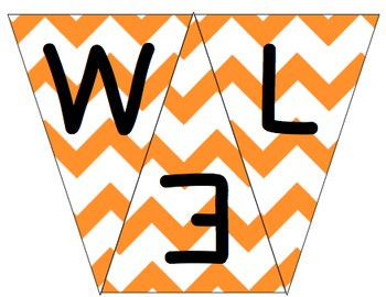 Welcome to 1st Grade Pennant- Orange Chevron