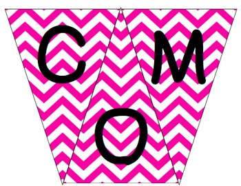 Welcome to 1st Grade Pennant- Pink Chevron
