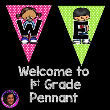 Welcome to 1st Grade Pennant Sign Rainbow Polka Dot Kid Theme