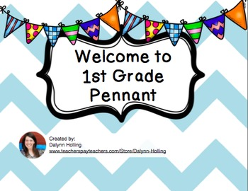 Welcome to 1st Grade Pennant- Teal Chevron
