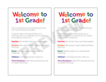 Welcome to 1st Grade! Treat Bags