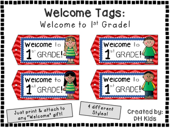Welcome to 1st Grade - Welcome Tags  - First Grade Treat Bag Tags