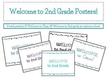 FREEBIE! Welcome to 2ND Grade Colored Posters