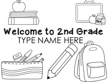 Welcome to 2nd Grade name sheets l Back to school