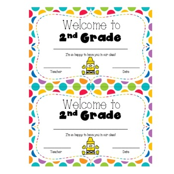 Welcome to 2nd Grade Certificate