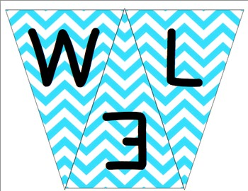 Welcome to 2nd Grade Pennant- Blue Chevron