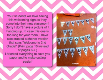 Welcome to 2nd Grade Pennant- Pink Chevron