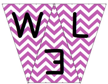 Welcome to 2nd Grade Pennant- Purple Chevron