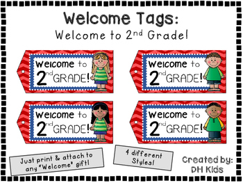 Welcome to 2nd Grade - Welcome Tags  - Second Grade Treat Bag Tags