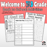 Welcome to 3rd Grade Back to School