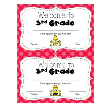 Welcome to 3rd Grade Certificate