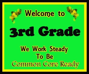 Welcome to 3rd Grade (Common Core)
