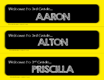 Welcome to 3rd Grade:  Editable Desk Name Plates - Primary Colors