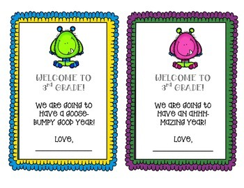 Welcome to 3rd Grade Note - Monster Theme