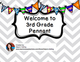 Welcome to 3rd Grade Pennant- Gray Chevron