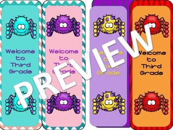 Welcome to 3rd Grade Spider Bookmarks