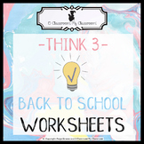 Back to School Worksheets - Welcome to 3rd Grade! -Think 3-