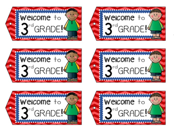 Welcome to 3rd Grade - Welcome Tags  - Third Grade Treat Bag Tags