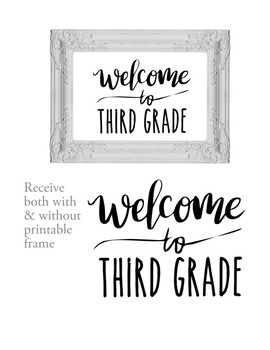 Welcome to 3rd Third Grade Sign or Poster w Frame Farmhouse & Rae Dunn Style