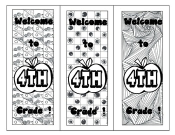 Welcome to 4th Grade Bookmarks- hand drawn DOODLES!