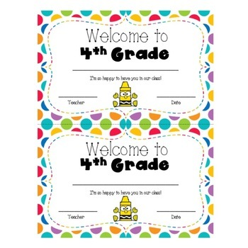 Welcome to 4th Grade Certificate