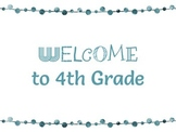 FREEBIE! Welcome to 4th Grade Colored Posters