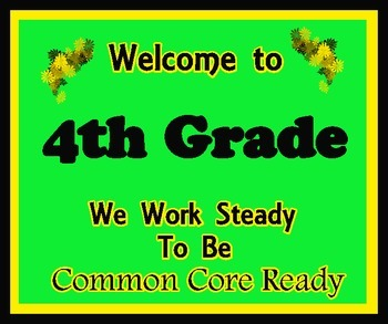 Welcome to 4th Grade (Common Core)