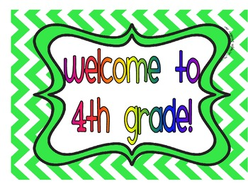 Welcome to 4th Grade Signs