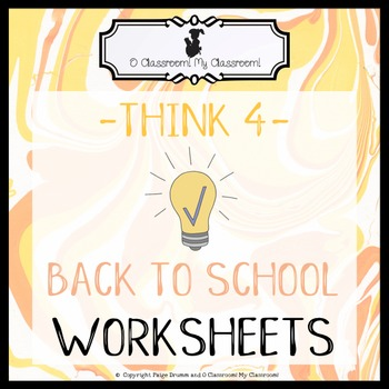 Back to School Worksheets - Welcome to 4th Grade! -Think 4-