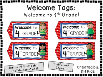 Welcome to 4th Grade - Welcome Tags  - Fourth Grade Treat Bag Tags