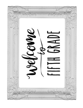Welcome to 5th Fifth Grade Sign or Poster w Frame Farmhouse & Rae Dunn Style